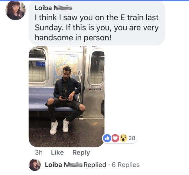 "To make sure it was him, Loiba posted her photos of him to his official Facebook fan page. ""If this is you, you are very handsome in person!"" she wrote."