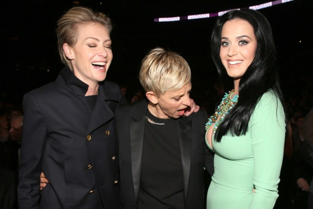 Ellen checked out Katy Perry's.................hemming.