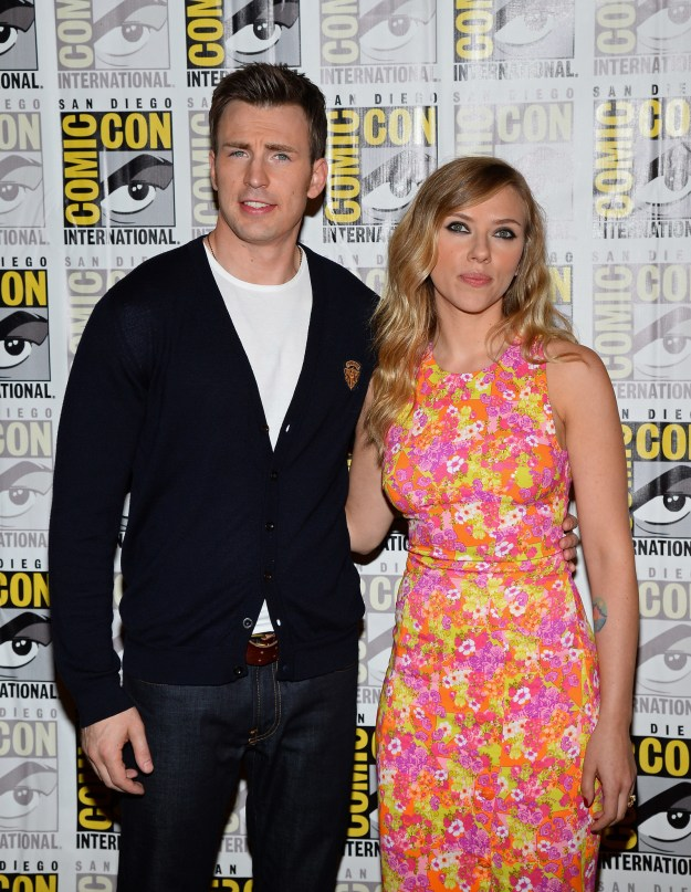 Chris Evans and Scarlett Johansson promoted Captain America: Winter Soldier at Comic Con. Somehow, five years later, we STILL don't have a Black Widow solo movie.