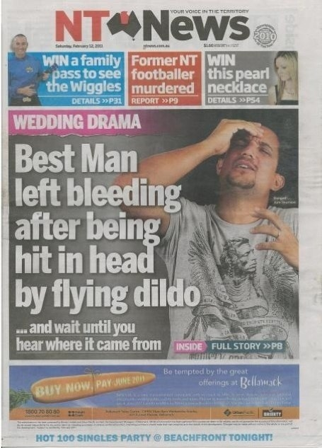 A guy that got hit in the head with a dildo: