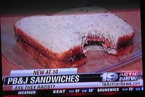 A debate over whether or not PB&J sandwiches are racist: