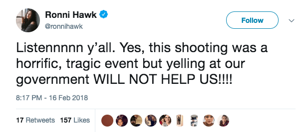 In February, after the Parkland massacre, Hawk also tweeted against protesters demanding that the government enact gun reform.