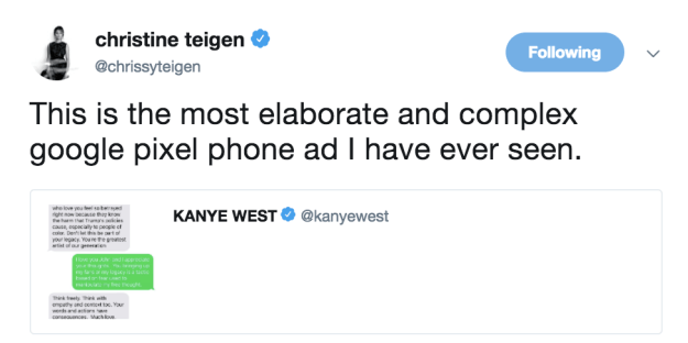She also poked fun at the screenshot Kanye shared of his conversation with her husband.