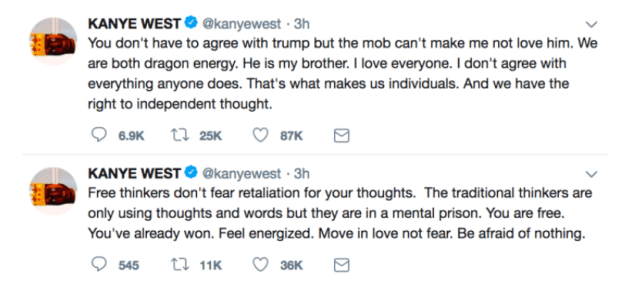 In case you somehow missed it, Kanye West took to Twitter yesterday to express his support for Trump.