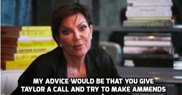 Kris Jenner advised Kim to call Taylor and attempt to make amends.
