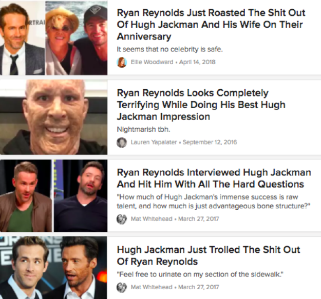 Four score and seven years ago, Ryan Reynolds and Hugh Jackman embarked on an epic quest to troll each other at all costs — and I've just been along for the whole damn ride.