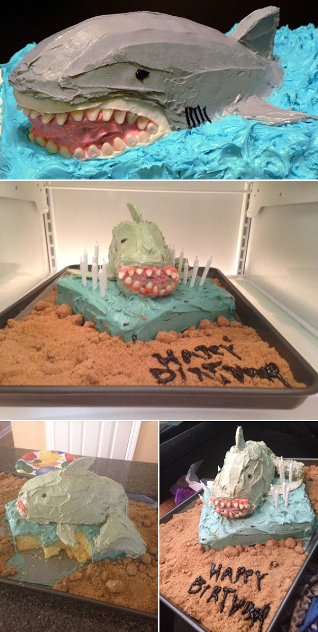 This cake that looks more like a piranha than a shark: