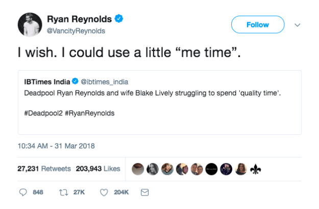 It feels like just days ago Ryan Reynolds had an iconic response to rumors that his marriage with Blake Lively was in trouble: