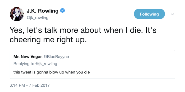When people were sharing a meme about her dying and she just wasn't having it: