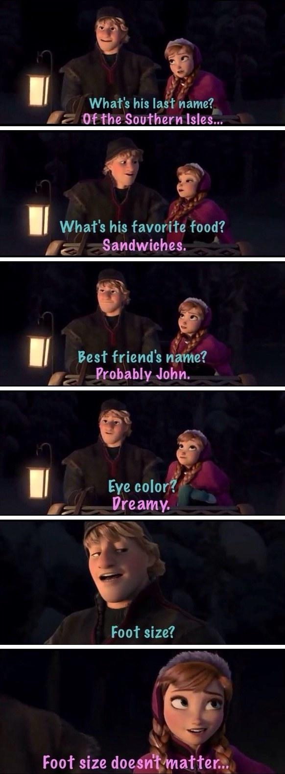 Anna's penis size joke in Frozen: