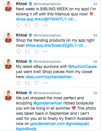 Eagle-eyed fans noted that Khloé's Instagram and Twitter accounts have almost exclusively shared promotional posts for her clothing brand and website over the past few days, rather than the personal content we're used to.