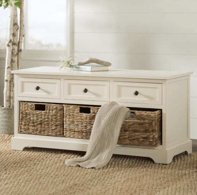 """And yes, it *DOES* come with the whicker baskets!Promising review: """"This bench was even better than expected! It arrived on my front porch in a HUGE box and already assembled. This made it so easy to simply take it out of the box and place it at the foot of our bed. The drawers are big enough to store small items (such as scarves, gloves, etc) and the baskets are durable and have great capacity as well. I have shoes stored in the baskets and each basket holds 5 to 8 pairs of shoes depending on size. Pros: Fully assembled, good quality materials, exactly as described."""" —MarishaGet it from Wayfair for $154.49 (available in seven colors) or Bed Bath & Beyond for $163.99+ (available in two colors)."""