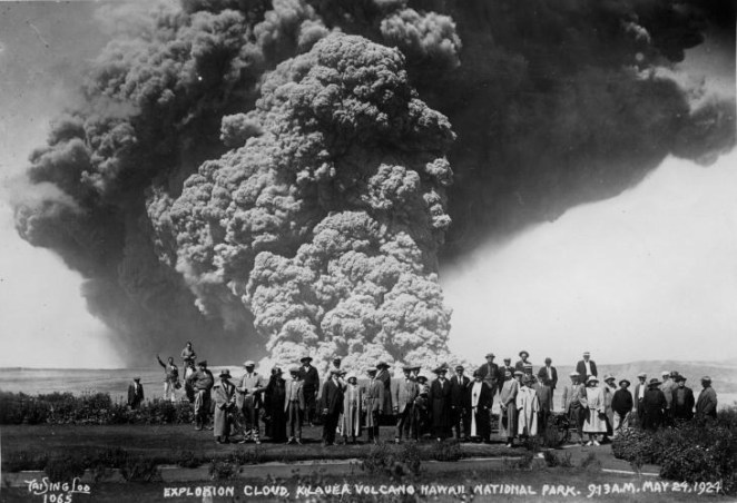 Spectators view an eruption plume at Kilauea volcano on May 24, 1924.