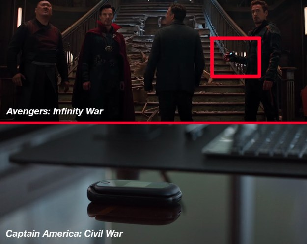The old flip phone Tony Stark has is the one Steve Rogers left for him at the end of Civil War in case he ever needed him.
