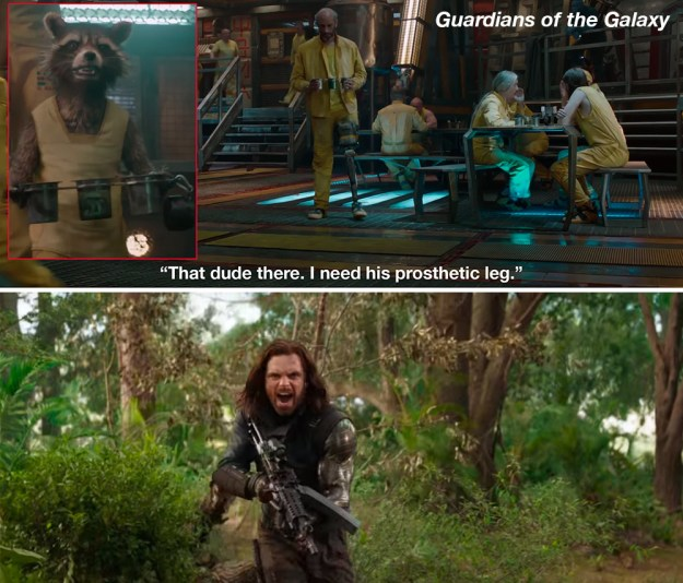 Rocket seems to have a thing for limbs. In Guardians of the Galaxy he jokes that he needs some guy's prosthetic leg and in Avengers: Infinity War he asks Bucky,