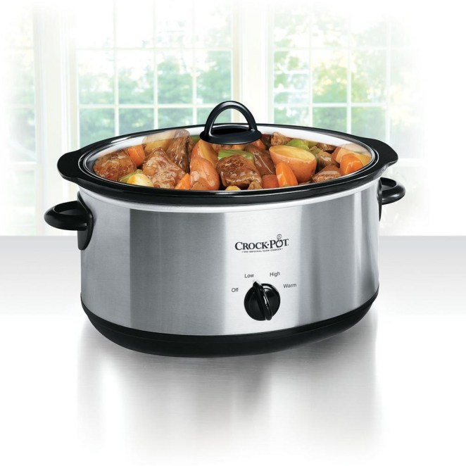 This eight-quart Crock-Pot serves up to 10 people. The stoneware and glass lid are dishwasher safe! —dchryslerGet it from Jet for $44.94 or from Walmart for $44.94.