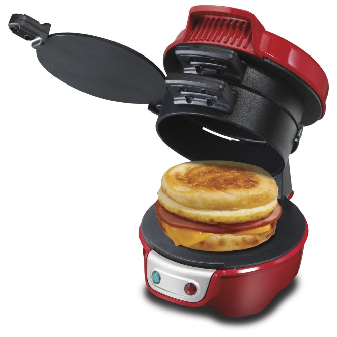 """I have one at home, keep one at work, and always have one to give as a gift. You're not just limited to breakfast sandwiches, either. You can make fancy grilled cheese sandwiches, mini pizzas, and even desserts!"" —erandrsnGet it from Walmart for $23.85 (available in two colors)."