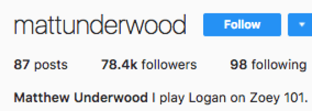 "Because of this milestone, I decided to check in on Matthew Underwood who played Logan. I was immediately charmed because his Instagram bio says ""I play Logan"" in the present tense. This means that he is still currently in a state of playing Logan in the year 2018. I love it."