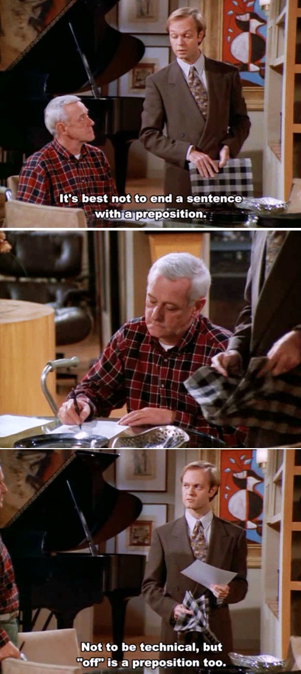 When Niles gave Martin a grammar lesson.