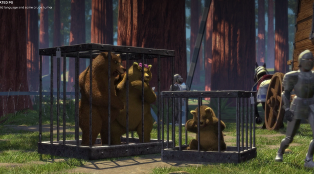 You know at the beginning of the movie when all of the fairytale creatures are getting kicked out of Duloc, and you see the three bears caged?