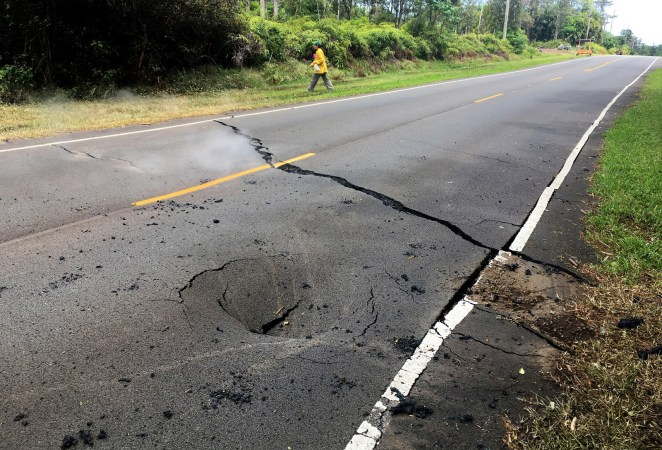 A crack opens near Pahoa after the eruption of the Kilauea volcano.