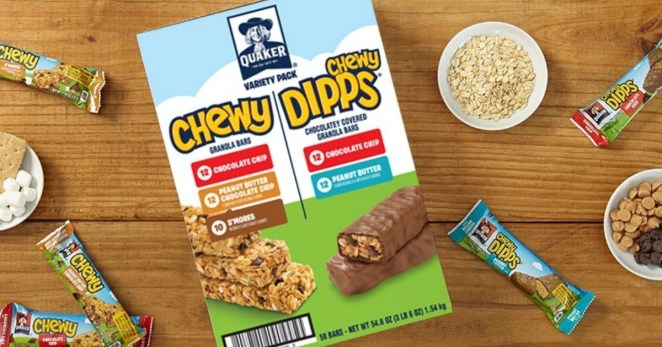 Includes:12 chocolate chip, 12 peanut butter chocolate chip, 10 s'mores Chewy Bars, plus 12 chocolate chip and 12 peanut butter flavor Chewy Dipps.Price: $11.28 (originally $18.29)