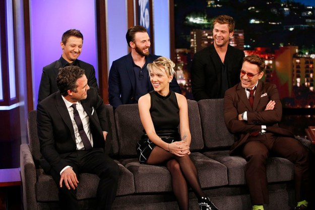 RDJ told EW that Scarlett and Chris Evans got it done in New York and then he, Jeremy, and Chris Hemsworth got it done in LA.