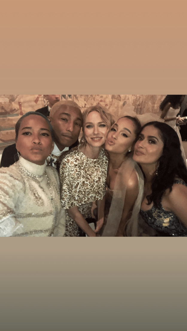 Ariana Grande's selfie with Salma Hayek, Naomi Watts, and Pharrell.