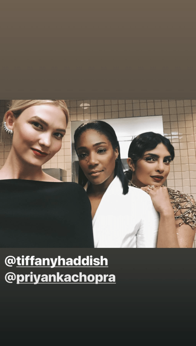 This bathroom selfie from Karlie Kloss with Tiffany Haddish and Priyanka Chopra: