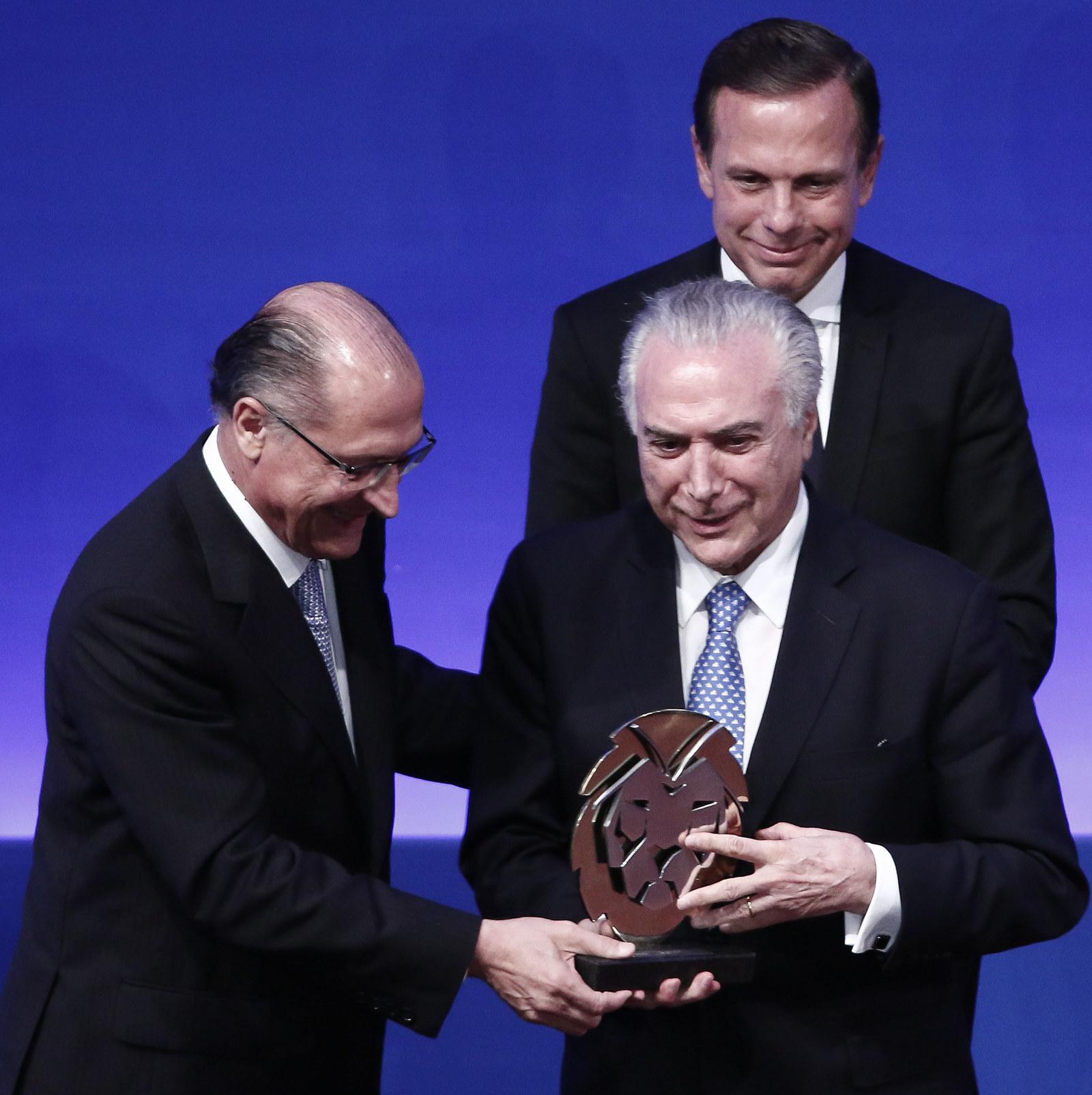 Doria participa de evento do Lide, comandado por ele, em dezembro de 2016, no Palácio dos Bandeirantes. O presidente da República, Michel Temer (MDB), foi o principal homenageado.