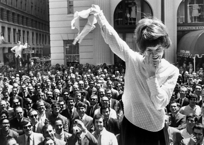 Demonstrators remove their bras during an anti-bra protest outside a San Francisco department store in 1969.