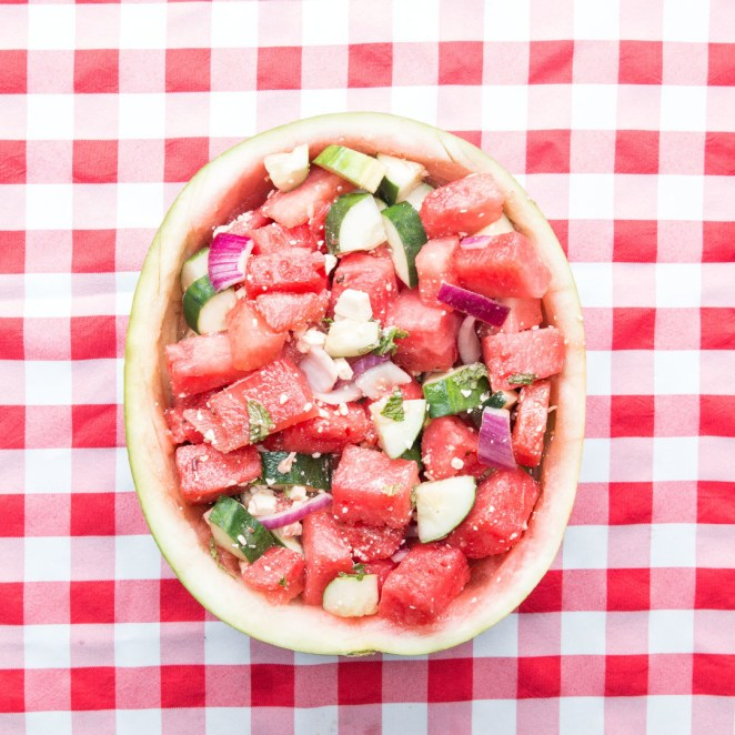 A watermelon salad served INSIDE of a watermelon — now that's what I call clever. Get the recipe.
