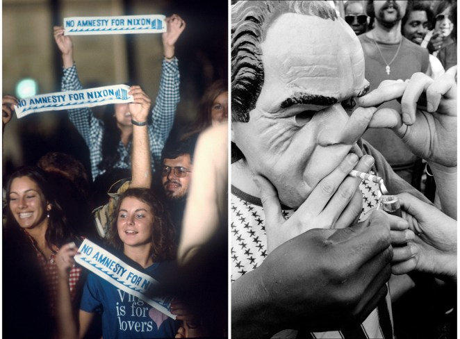 "Left: Anti-Nixon demonstrators hold up ""No Amnesty for Nixon"" bumper stickers. Right: A man in a Nixon mask smokes a joint in New York City, 1974."