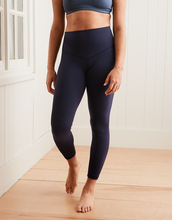 """Promising review: """"I'm blown away by the quality of these leggings! They're thin enough that I don't feel like they make me any hotter during a workout, but they're not see-through at all. I love that they're high-rise but but don't cut in around my waist, and I've also washed them quite a few times and they always come out looking brand new. I seriously can not recommend these enough!"""" —Jemichel Get them from Aerie for $20.97 (originally $34.95, available in sizes XXS-XXL and in short, regular, and long lengths and in four colors)."""