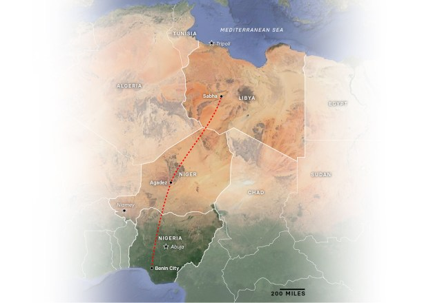 Ikuenobe's approximate route from Nigeria to Libya.