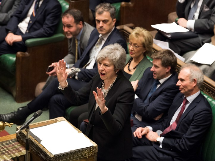 Prime minister Theresa May speaks during a debate on her Brexit 'plan B' in Parliament.