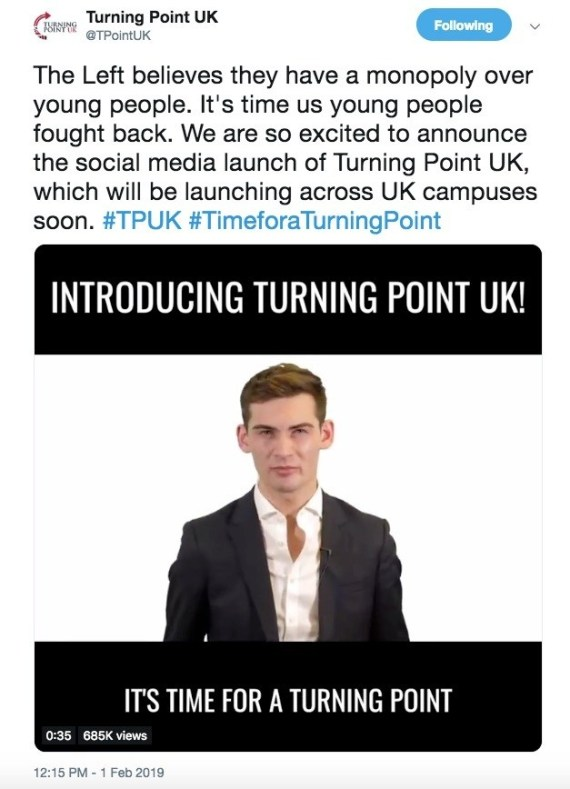 Guido Fawkes journalist Tom Harwood in the introduction video for Turning Point UK.