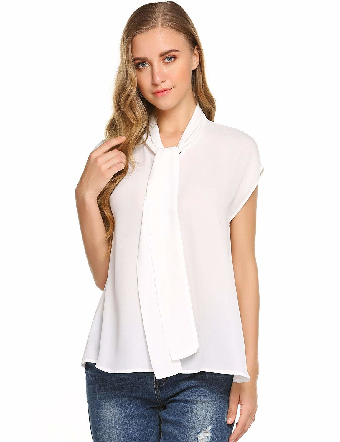 """Promising review: """"The blouse is very pretty and very breezy. I wore it to a job interview and received compliments from the interviewer."""" —KenyaGet it from Amazon for .99+ (available in sizes S-XXL and in four colors)."""