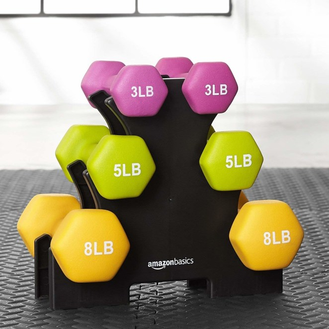 The six-piece set includes two 3-pound dumbbells, two 5-pound dumbbells, and two 8-pound dumbbells.