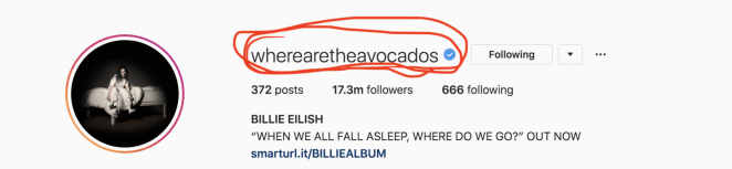 As a Billie stan who's been following her for quite some time now, her random AF handle is something I've been curious about, but never thought I'd get the answer to. Billie's just mysterious like that.