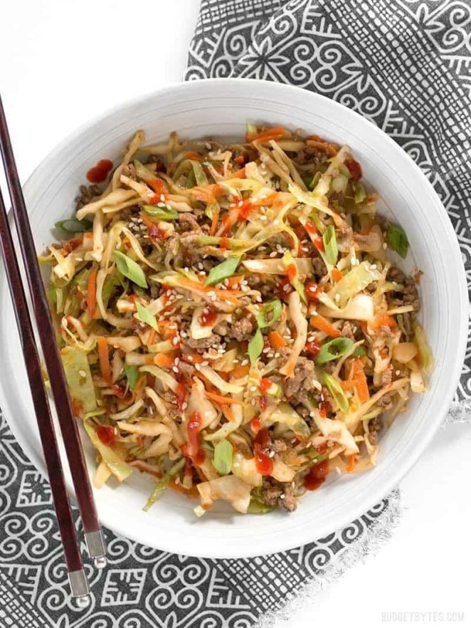 Textural variety is key to creating a satisfactory low-carb recipe. This recipe combines green cabbage, ground beef, carrots, and sesame seeds for a stir-fry that's got crunch, savory chew, and snap in every bite. Get the recipe.