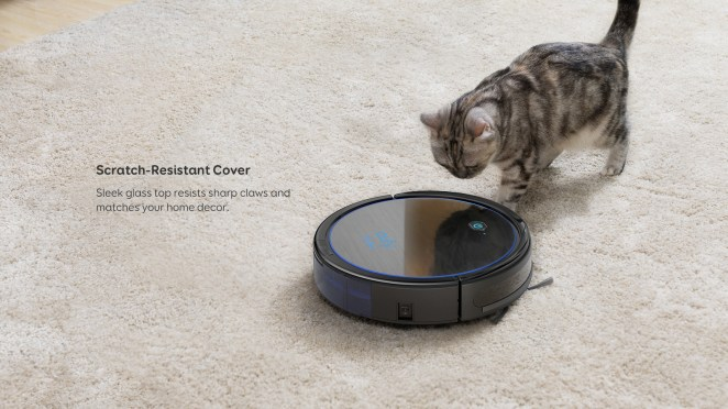 This Wi-Fi connected RoboVac Pet Edition comes with a remote control (two AAA batteries included), boundary strips, a charging base, an AC power adapter, a cleaning tool, an extra set of high-performance filters, and an extra set of side brushes. It can clean continuously for up to 100 minutes. It's compatible with Google Home and Alexa.Price: $189.99 (originally $289)