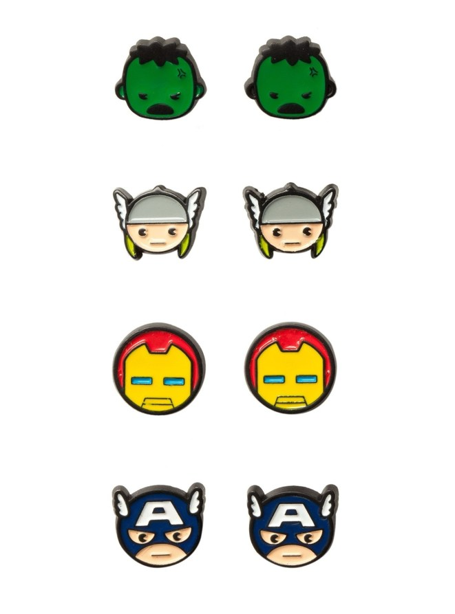 """Promising review: """"I've been wearing these earrings nonstop since they arrived. Waiting patiently for the new movie, these little guys help me through. They match with anything of course, because they are small, and they are my four favorite Avengers."""" —SILVERWOLF01Get four pairs from Hot Topic for $10.50."""