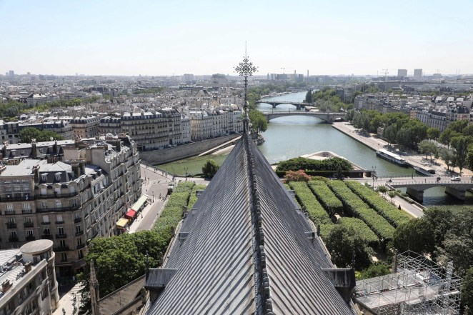 Notre-Dame de Paris Cathedral with a general view of the Seine river and its surroundings, June 26, 2018.