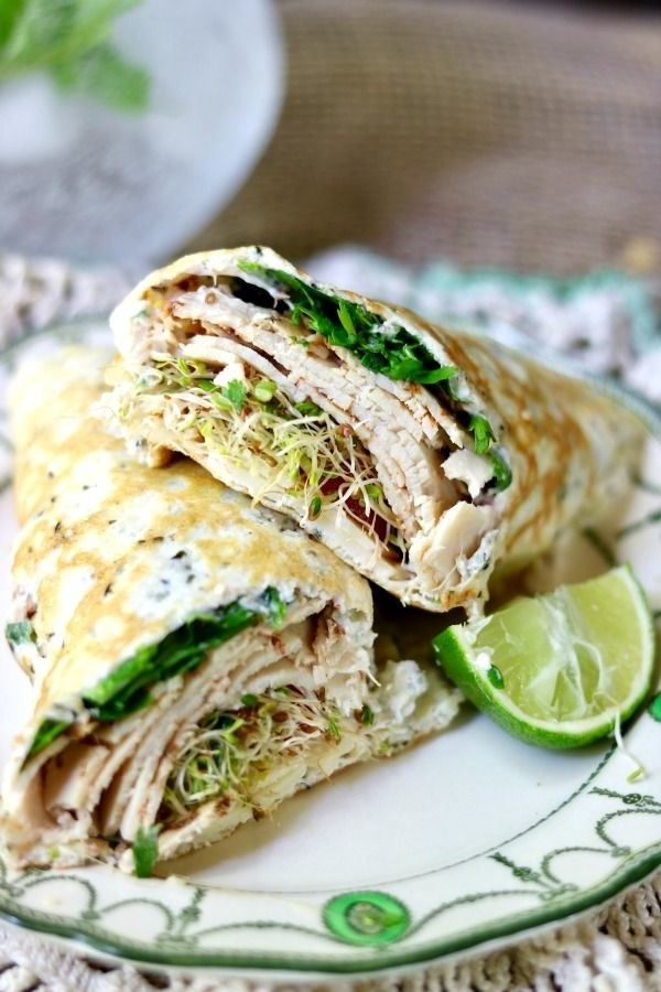 Almond flour, hemp hearts, and egg whites join forces to create this low-carb wrap you can stuff with Monterey Jack cheese and chicken, or any other low-carb combination of your liking. Get the recipe.