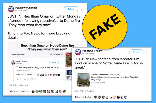The account claims it's a parody in its bio but is spreading falsehoods about the Notre Dame fire.