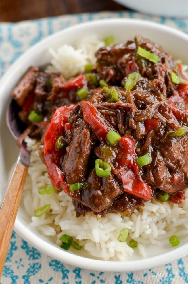 Beef gets tossed in a sauce made of sesame oil, ginger, chilli, soy sauce, and maple syrup and cooked in the slow cooker until tender and flavorful. Get the recipe here.