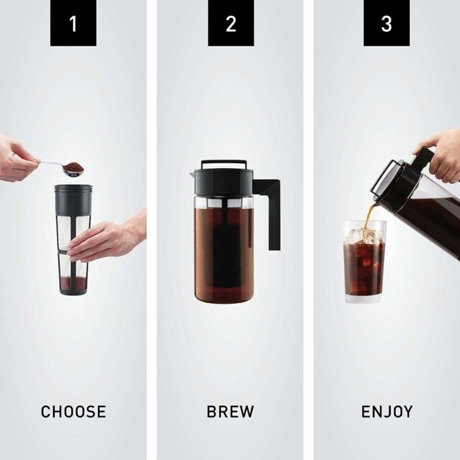 """All you do is grind up coffee as usual, fill up the center grounds cone, then let it all sit in the fridge!Promising review: """"Great cold brew system! It's is so easy to use — add your coffee of choice and water, place it in the fridge and wait for the next day. That's it!! So easy, great tasting coffee that goes far enough for both of us. It easily fits on a shelf or the door."""" —Jessica MGet it on Amazon for $24.69. We know this absolutely works, btw: read more in my colleague Maitland's Takeya Cold Brew Maker review."""