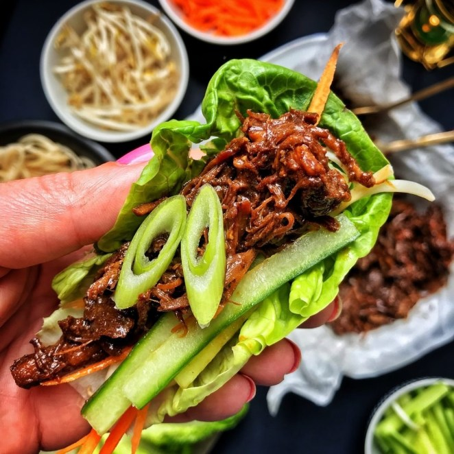 Serve this sweet-and-tangy pork —cooked in hoisin sauce, Chinese 5-spice, honey, ginger, and soy sauce — in lettuce wraps, in sliders, or on a bed of rice with sautéed veggies. Get the recipe here.