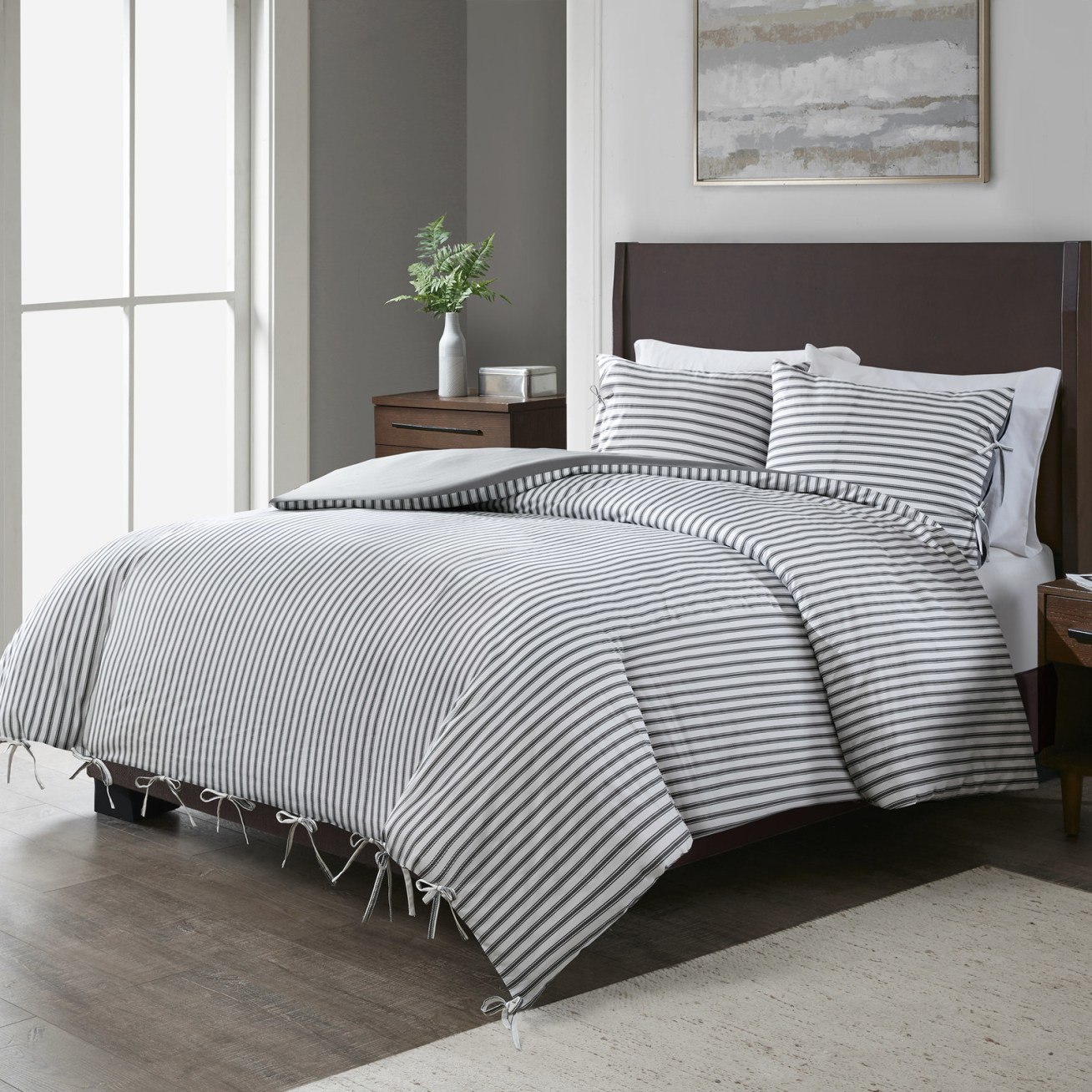 Includes one duvet cover and two shams. Price: + (available in two sizes)